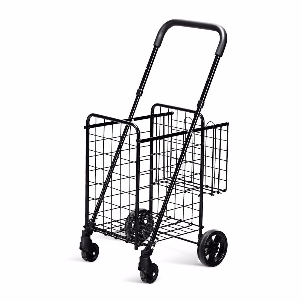 Goplus Folding Shopping Cart Jumbo Basket Rolling Utility Trolley Adjustable Handle New TL34988