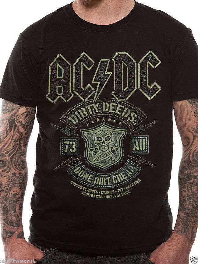 Official AC/DC Dirty Deeds Done Cheap T-Shirt Back In Black Album Rock Music Printed Pure Cotton MenS