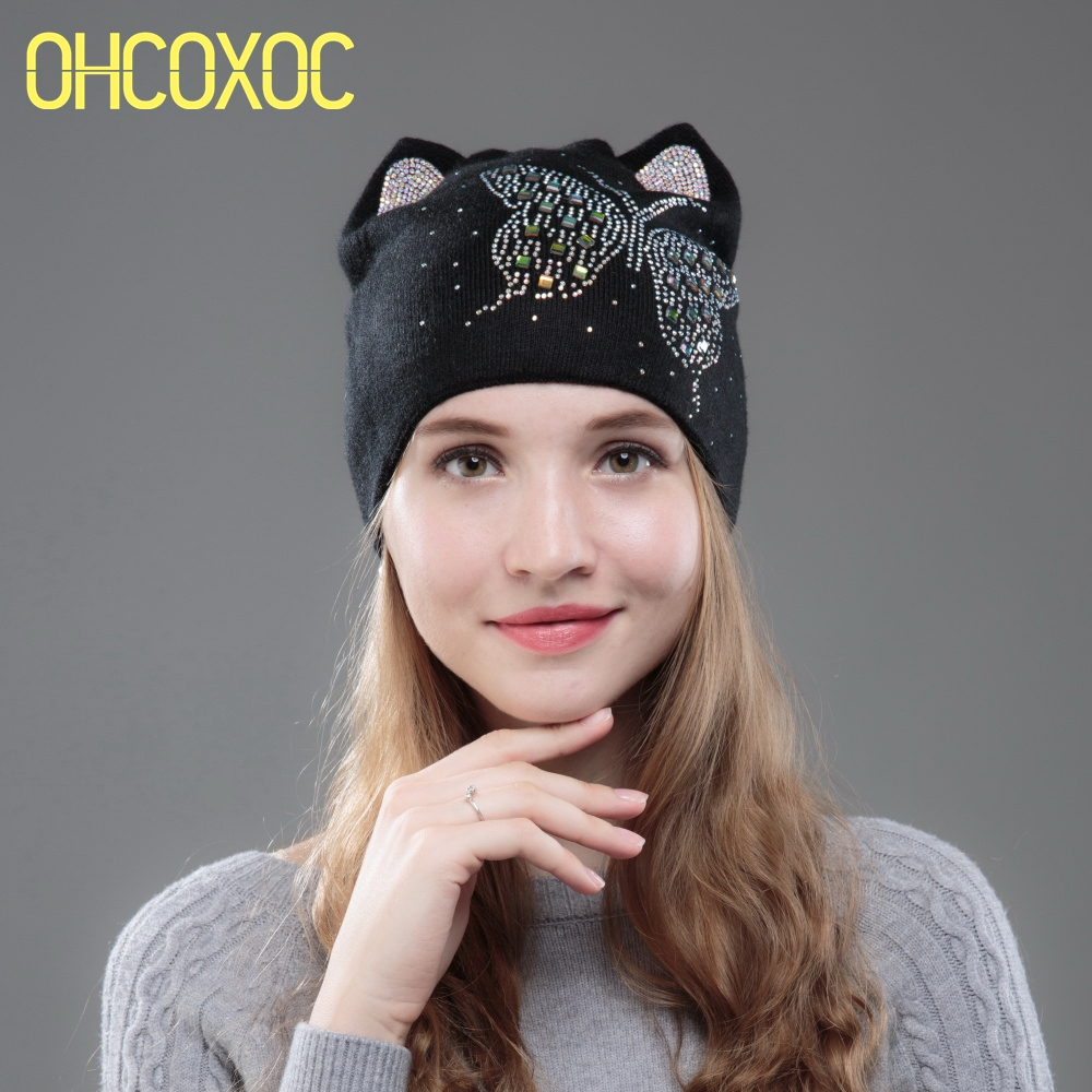 OHCOXOC New Design Women   Beanies     Skullies   Cute Princess Girl Autumn Winter Hat Cap With Cat Ear Shiny Color Butterfly Rhinestone