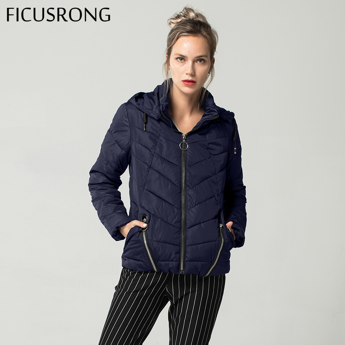 Fashion Spring Autumn Jacket Women Down   Parkas   Outerwear Womens Hooded Coats Slim Cotton Padded Jacket Female FICUSRONG