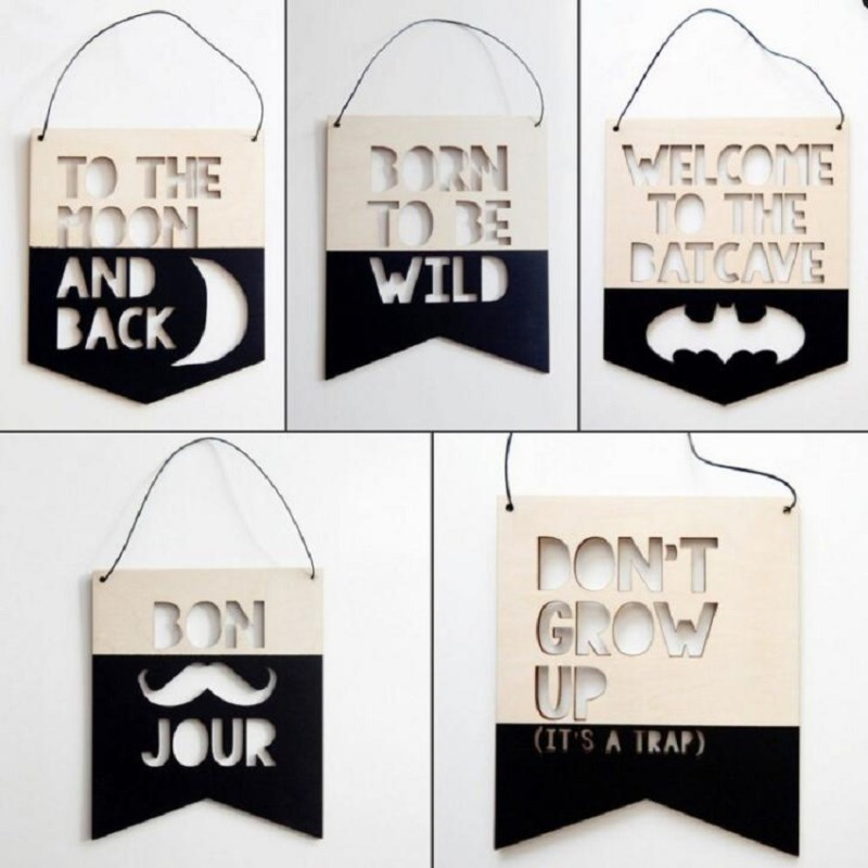 >INS <font><b>Nordic</b></font> <font><b>Style</b></font> Positive Slogan Banner Garland Wooden Wall Hanging Ornament For Kids Room Decoration Nursery Photography Props