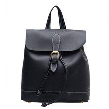 Новый женский рюкзак высокое качество PU кожаные рюкзаки для девочек-подростков Женский школьная сумка Твердые Цвет Рюкзак Mochila
