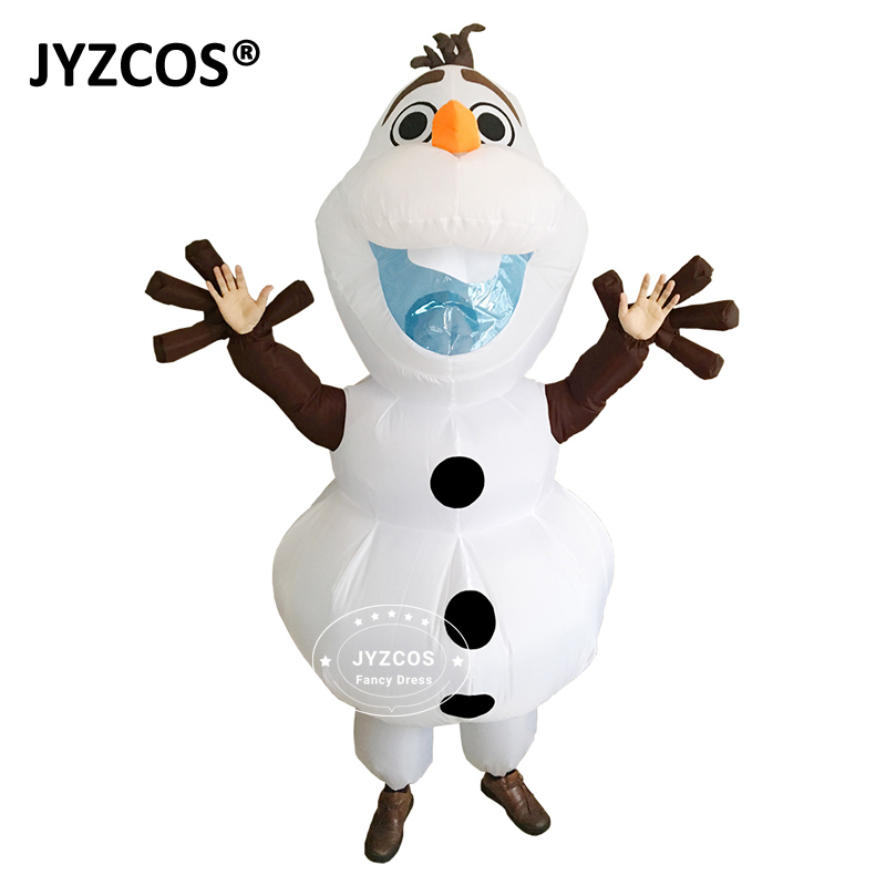 JYZCOS Olaf Pupazzo di neve costumi per donna uomo adulto Purim Halloween gonfiabile Natale Blowup Anime Cosplay Fancy Dress Up mascotte