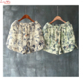 Draw String Belt Floral Linen Short Hot Pants Cute Embroidery Casual Wide Leg Pants Women Large Size Capris