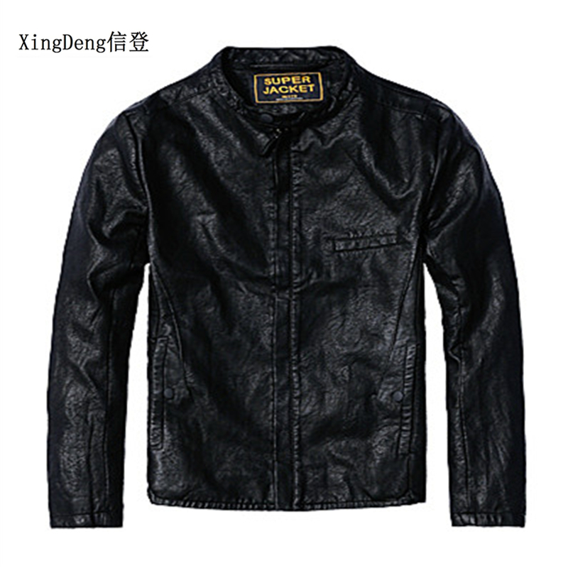 XingDeng Brand High Leather Fashion Casual Jacket Men 80s Costumes Top Coats Quality Outerwear Summer Spring Male Zipper Clothes