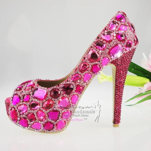2b44020a48d5 hot pink wedding shoes Peep Toe Fuchsia Hotpink glitter Crystal Wedding  Pumps platform Open toe Style for your party