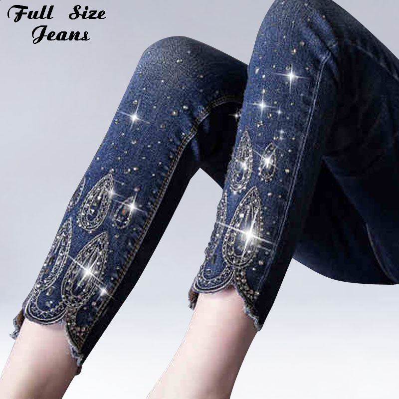 Summer Plus Size Rhinestone Beading Ankle Length Jeans 4Xl 5Xl 6Xl Female Oversized Stretch Nine Pencil Pants Slim Fit Trousers
