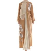 Muslim dress abayas for women ramadan marocain turban Muslim Arab Middle Eastern Women's Necklace Long Sleeve Robe Dress D300326