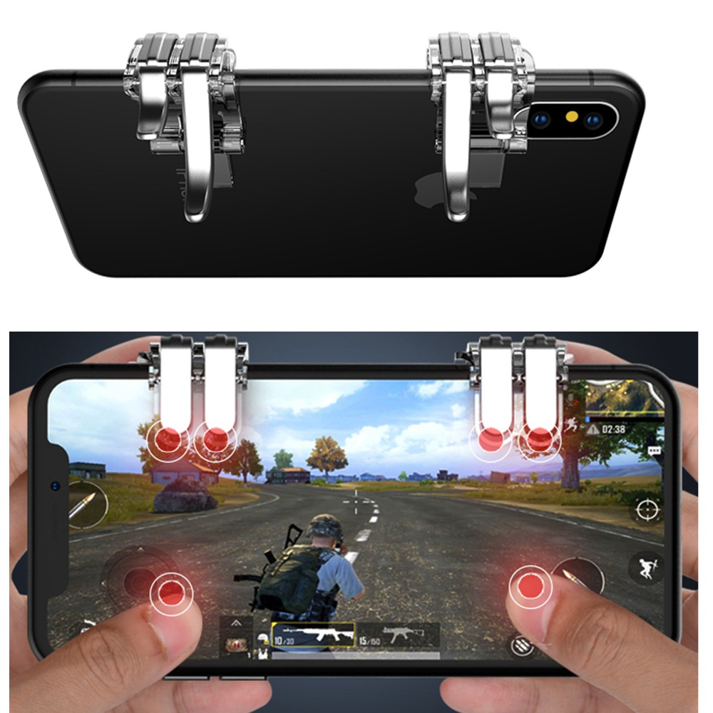 1Pair Six finger linkage PUBG Mobile Game Fire Button phone Gaming Trigger L1R1 Shooter Controller For iPhone x 8 Samsung Xiaomi-in Replacement Parts & Accessories from Consumer Electronics on Aliexpress.com | Alibaba Group