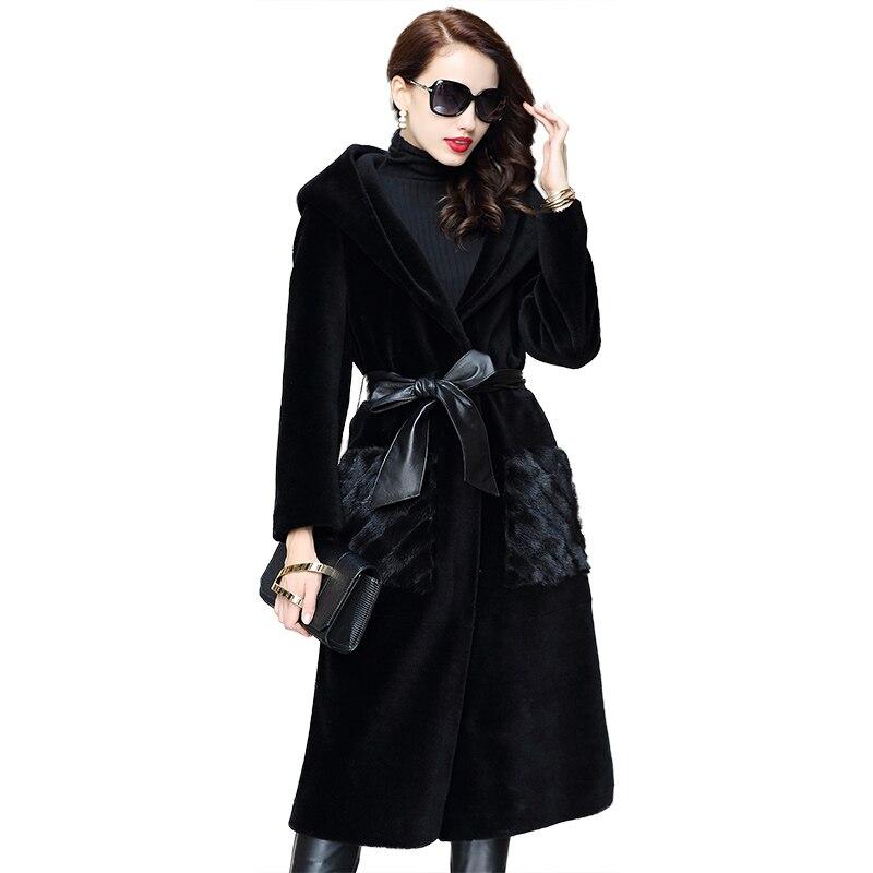 Зимнее пальто женская одежда 2018 натуральный мех пальто короткая овечья шерсть меха Корейская шерстяная куртка из меха норки карман элегант...