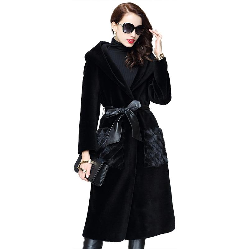Manteau d'hiver Femmes Vêtements 2018 Réel Manteau De Fourrure Mouton Mouton Fourrure Coréenne Laine Veste Vison De Fourrure Poche Élégant Long Manteaux ZT855