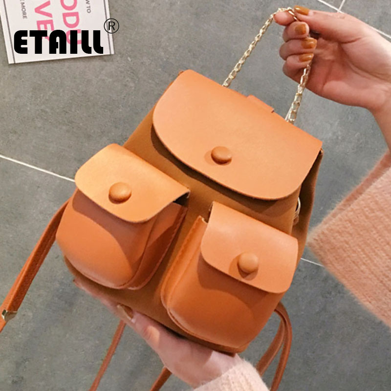 ETAILL Sweet College Wind Mini Shoulder Bag High Quality PU leather Back Pack Fashion Girl Candy Color Small Backpack Back Bag sweet college wind mini school bag high quality pu leather preppy style fashion girl candy color small casual backpack xa384b