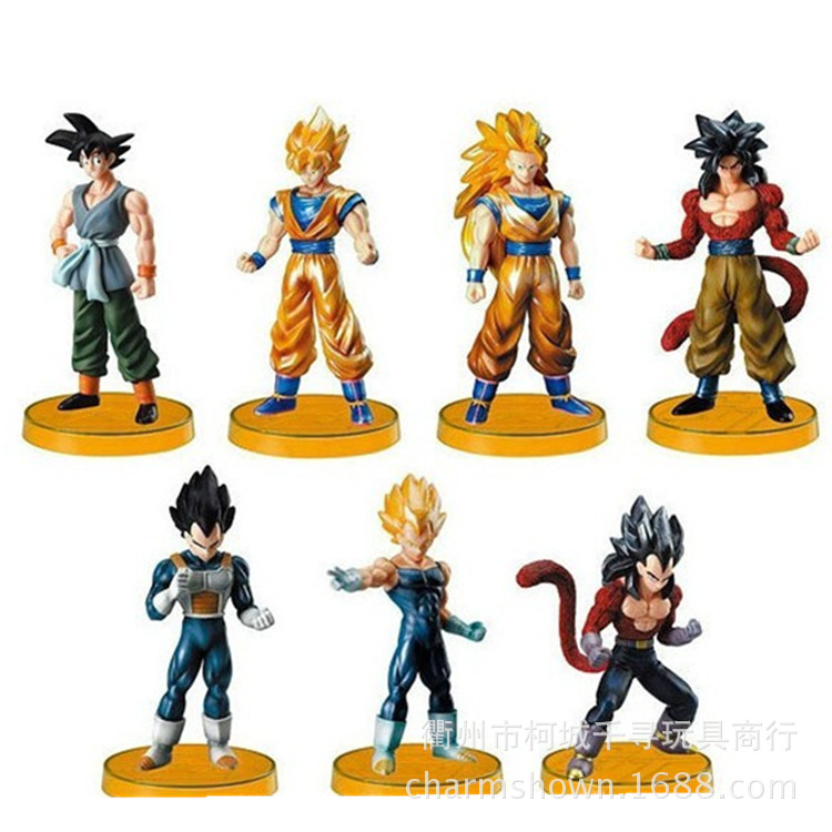 7pcs/set Super Saiyan Dragon Ball Z Goku Vegeta Action Figure PVC Collection figures toys for christmas gift brinquedos dragon ball super toy son goku action figure anime super vegeta pop model doll pvc collection toys for children christmas gifts