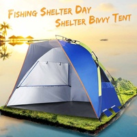 Blue Three Person Fishing Shelter Tent Portable Pull Up Beach Tent Sunshade Bivvy UV Protective Quick Automatic Opening