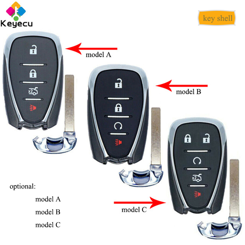 KEYECU Smart Remote Control Car Key Shell Case With 4 5 Button - FOB for Chevrolet Malibu Cruze Spark Cmaro Equinox Bolt EV Trax