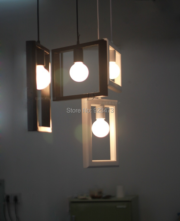 Whole Novelty New Wood Pendant Light Lamp Photo Frame Abajur Sala Creative Modern Design Home Decoration In Lights From