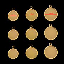 20pcs/Lot 12/14/16mm Stainless Steel Bases Setting Cabochon Round Cameo Base Tray Bezel Blank Necklace Pendant Gold DIY Jewelry 20pcs 12mm heart inner size stainless steel material simple style cabochon base cameo setting charms pendant tray t7 41
