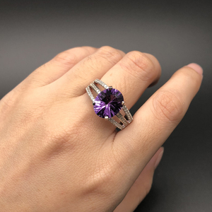 Image 5 - new design amethyst rings natural gemstone oval 10*12mm with 925 sterling silver fine jewelry anniversary gift for women wife