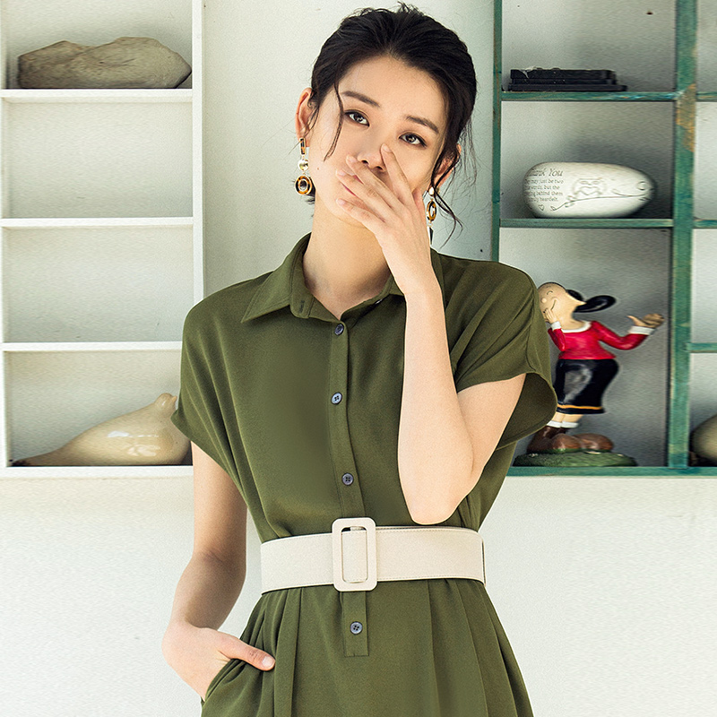 703c054cc44 VERRAGEE Brand shirt dress female summer 2018 new short sleeved long retro  solid color pphome dress-in Dresses from Women s Clothing   Accessories on  ...