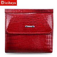 DICIHAYA Mini portefeuille femmes en cuir véritable portefeuilles avec porte-monnaie Alligator Hasp court portefeuille femme petits portefeuilles et sacs à main