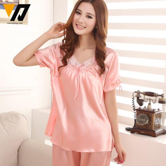 XMWEIPING Satin Pyjamas Women Silk Loungewear Set Lace Sleepwear Night Suit Female V-neck Calf-length Pants Femme Pijamas Set