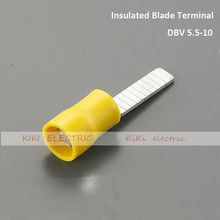 цена на DBV5.5-10 Insulated Blade Terminal / cold terminal for 4-6mm2 cable 1000pcs/bag Electric Wire Connectors Ends