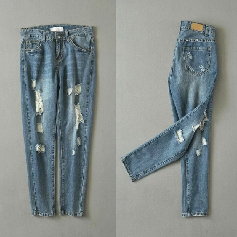 ФОТО Fashion trend personality broken hole low waist full length retro vintage loose casual distressed harem jeans pants for women