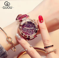 DHL Free Shipping Authentic GUOU Rose Gold Three Eyes Leather Women's Watches Luxury Fashion Korean Lady's Watches Wholesale
