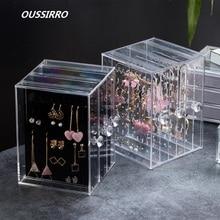 OUSSIRRO Large Capacity Transparent Jewelry Casket Women Fake Eyelashes Container Plastic Storage Box Drawer Divider Organizer