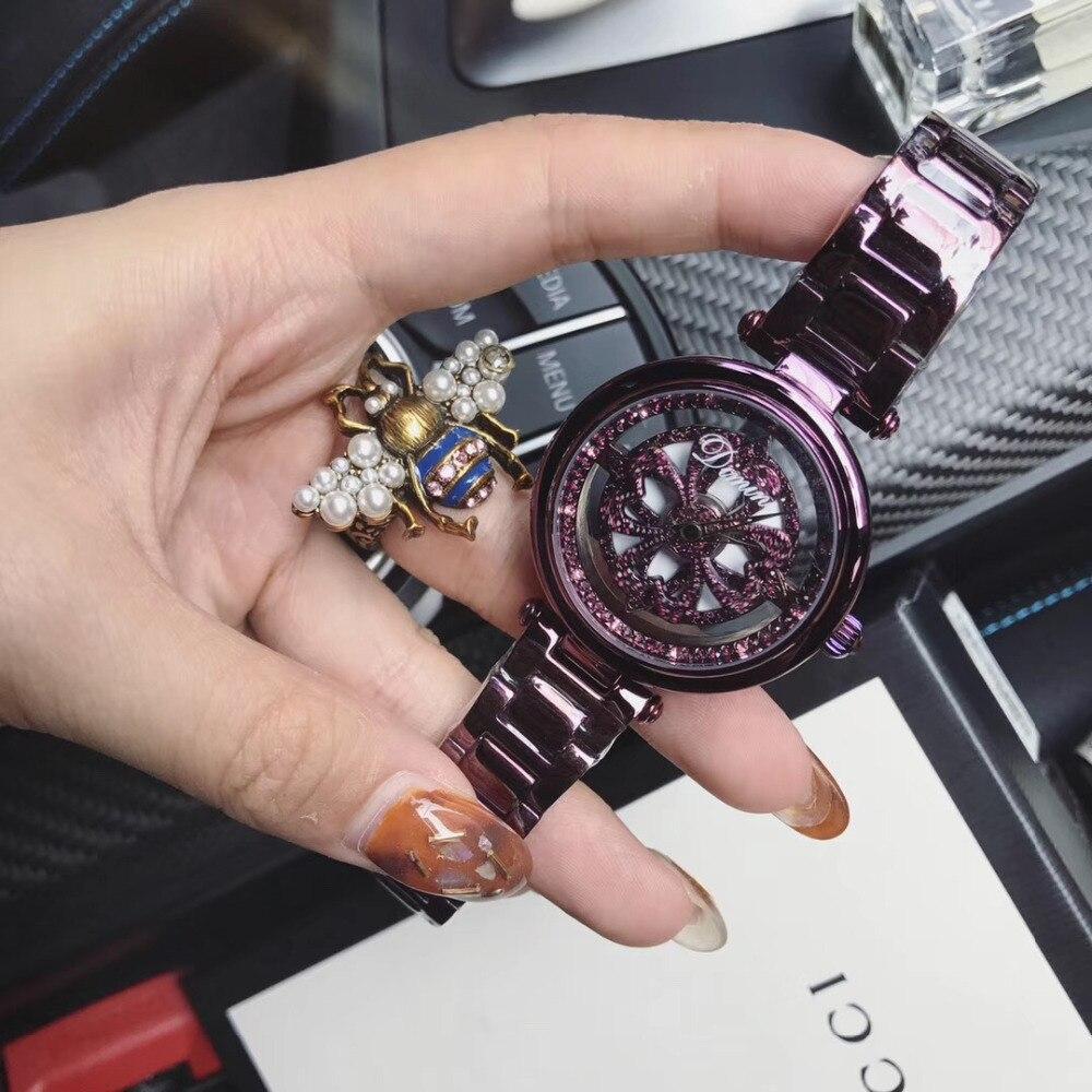 Noble violet femmes Bracelet montres Anti décoloration en acier montre-Bracelet bonne chance Rotaing coeurs fleur montre Transparent filature 3Bar