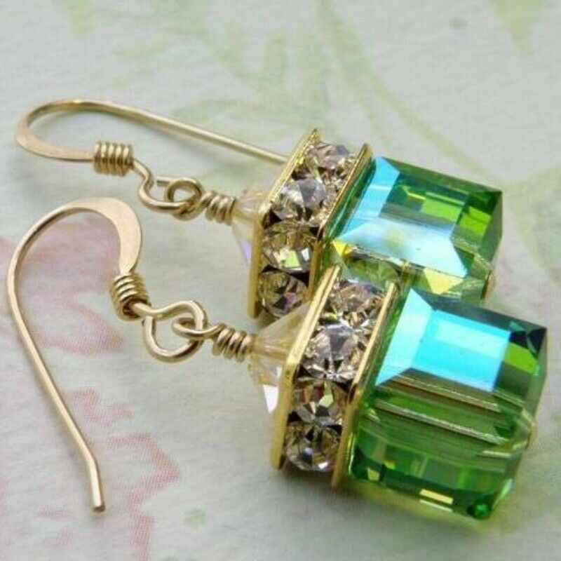 Emerald Cut Aquamarine Fashion Anting-Anting Huggie Anting-Anting Bulat Emas Putih Finish Mode