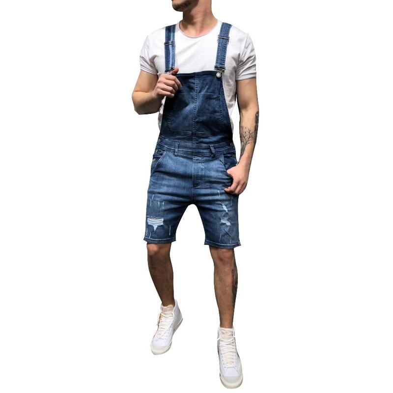 Casual Monos Sexy Hole Hombre Short Overoles Desgastado Hip Jeans 2019 Hop Ripped Streetwear 2HE9WDI