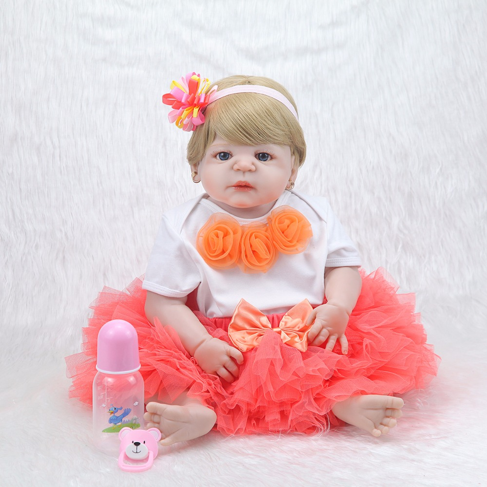 New arrival full silicone vinyl baby Dolls reborn Girl 57cm lifelike living newborn bonecas 23 '' babies doll toy for children new 45cm silicone vinyl doll reborn baby dolls girl toys soft body lifelike newborn babies bonecas toy best gift for kid child