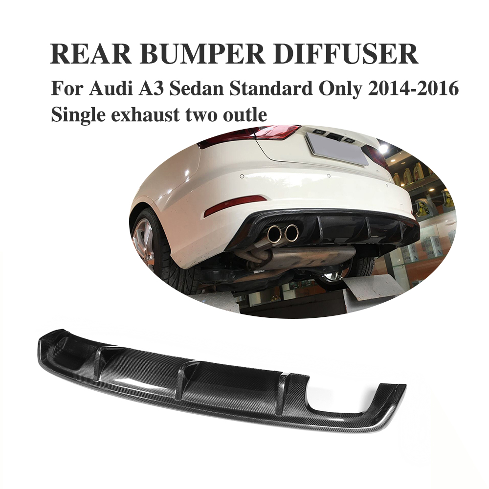 Carbon fiber car rear bumper lip diffuser for Audi A3 Standard Sedan 4 Door 8V 14-16 Non Sline Single exhaust two outlet