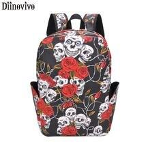 DIINOVIVO Skull Rose Floral Backpacks Women Large Capacity women Laptop backpack Canvas Backpack Schoolbag For Girls WHDV1191
