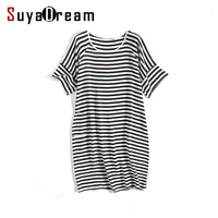 Women Silk Dress Luxury 100 Natural Silk Stripe Short Sleeved Dress 2017 Summer Black White Striped