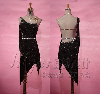 sexy Latin Dance dress Competition performance Rumba full rhinestones woman freeshipping