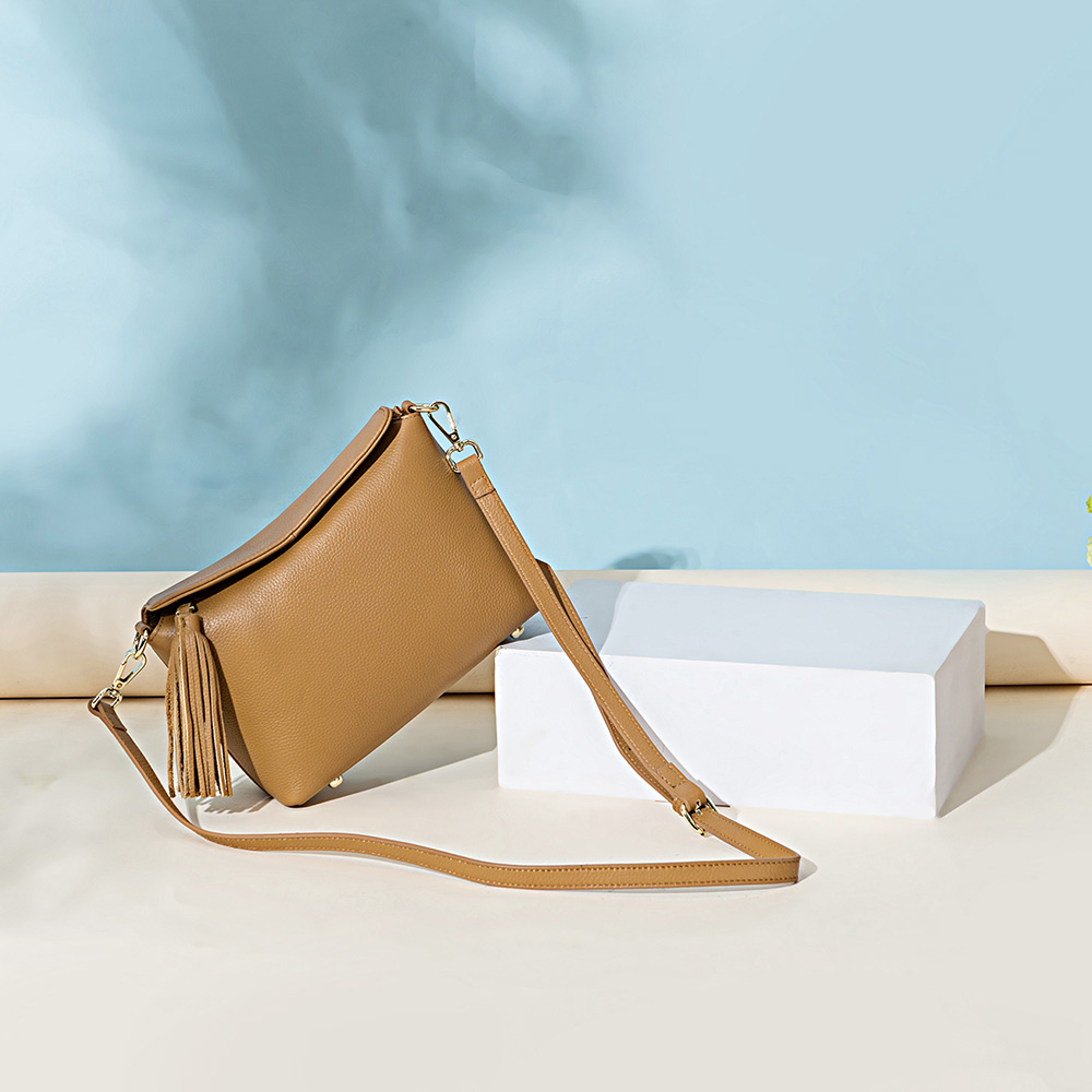 Apricot Women Shoulder Bag Genuine Leather Handbag White Black Lady Crossbody Purse Tote