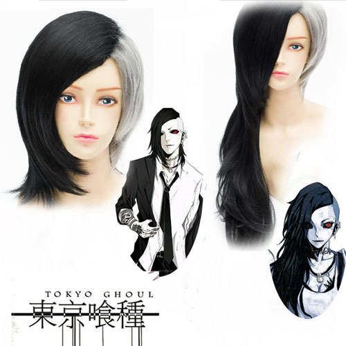 Anime Tokyo Ghoul Mask Maker Uta Straight Black Silvery Grey Cosplay Wig Party