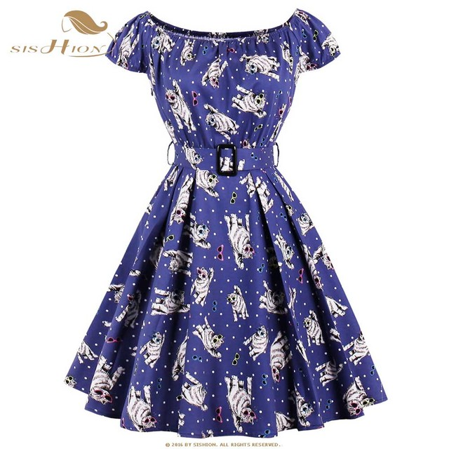 b9bdcb5673 SISHION Summer Dress Short Sleeve Cat Animal Print 70s Swing Rockabilly Dress  Plus Size Tunic Vintage Clothing in Blue VD0624