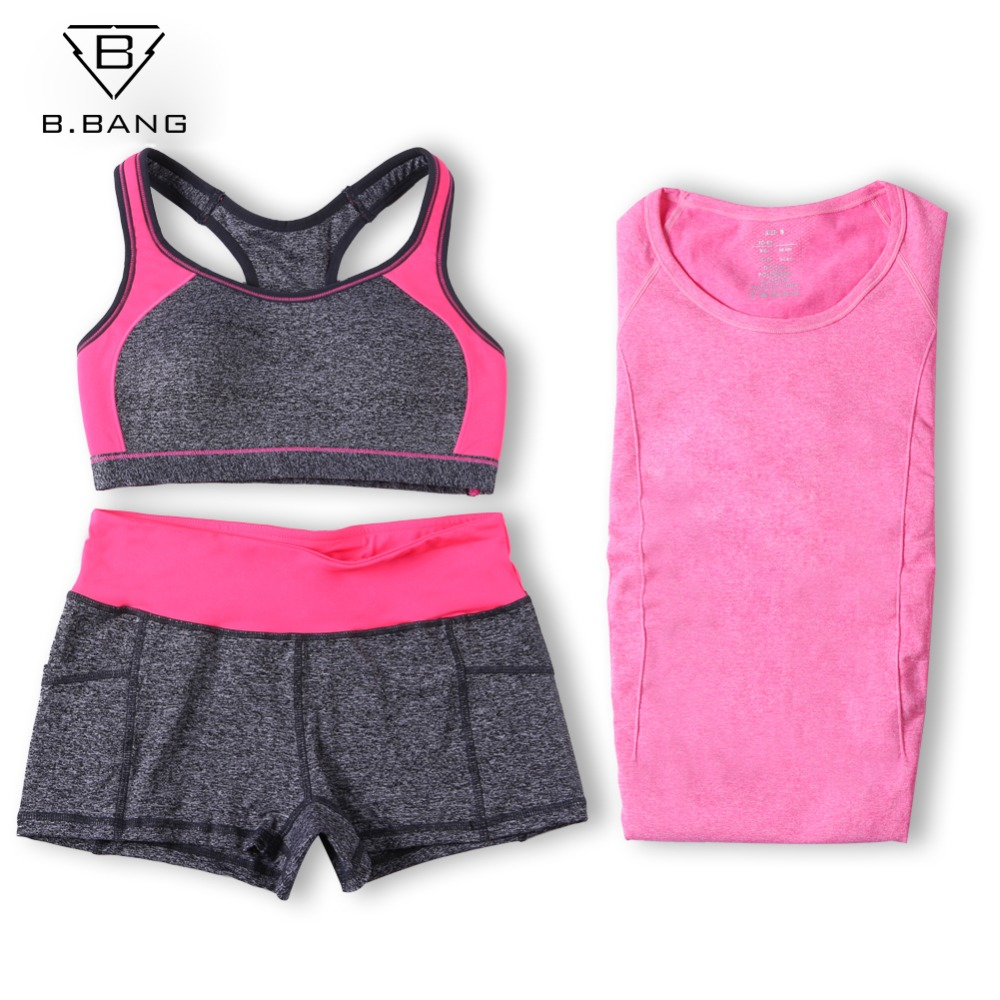 20072911b5 B.BANG Women Yoga Sets Running Sports Bra + T Shirt +Shorts Set Fitness Gym  Push Up Seamless Bras Tops Elastic Short Pants-in Yoga Sets from Sports ...