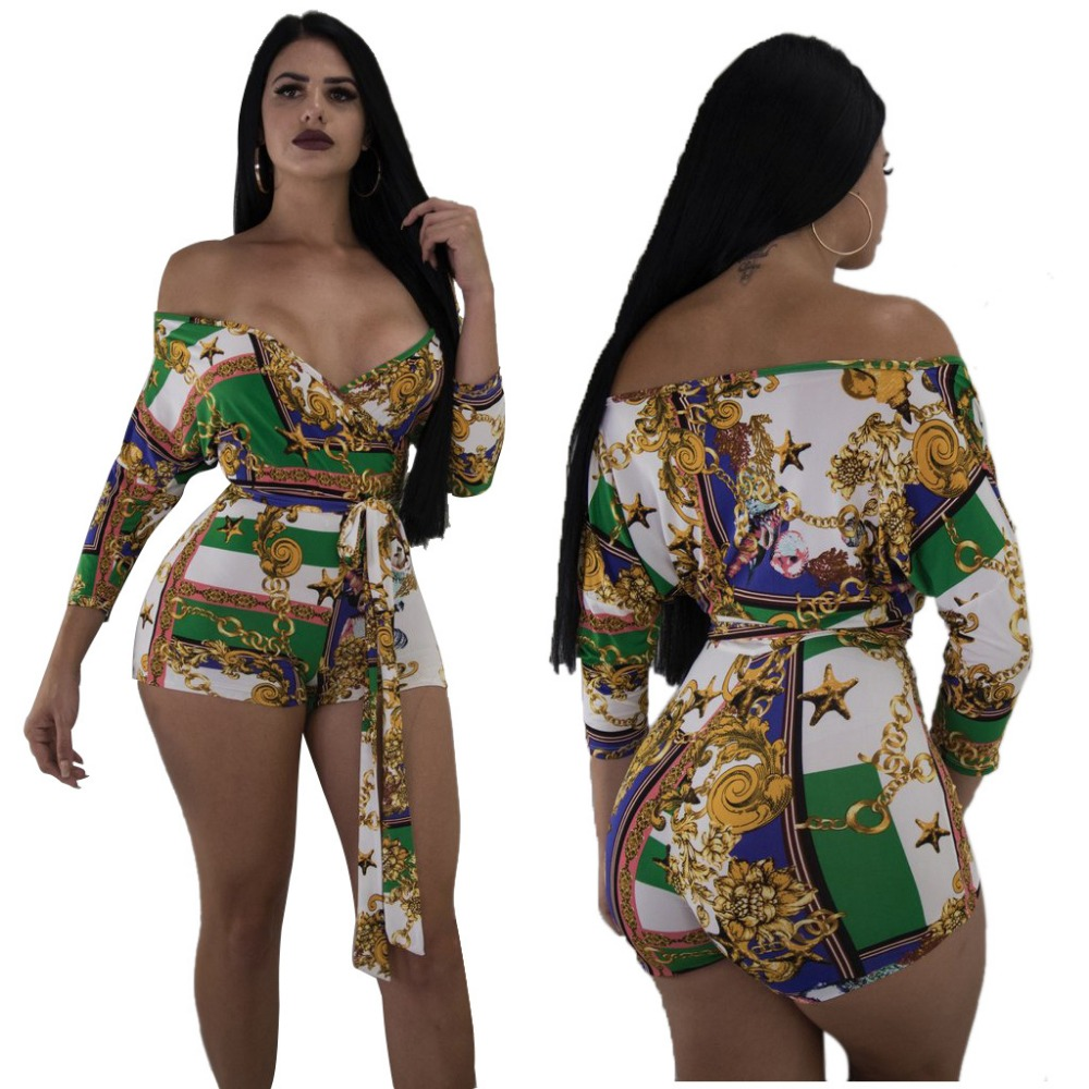 Women ladies summer autumn Printing off shoulder v neck sexy playsuits fashion long sleeve bandage skinny jumpsuit plus size 3XL