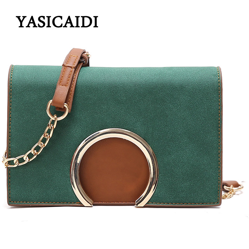 New Chain Strap Flap Messenger Bags Designer Famous Brand Women Bags 2017 Pu Leather Green Crossbody Bags for Women