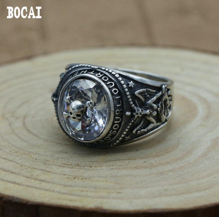 925 sterling silver retro Thai silver punk skeleton zircon inlaid fashion personalized men's ring цены онлайн