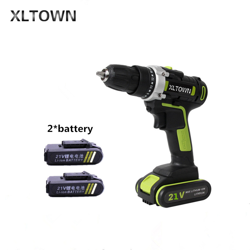 XLTOWN 21v 2000mAh electric screwdriver with 2 battery lithium battery rechargeable Multi-function household electric drill xltown new 21v rechargeable lithium battery electric screwdriver with 2 battery high quality electric drill tools free shipping