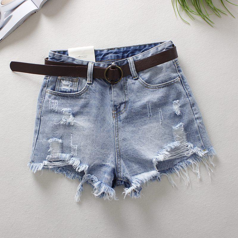 2019 Light Blue Women's Denim Shorts Summer A-Style Vintage Hole High Waist Edge Of Hair Bleached Broad Foot Denim Shorts 9759