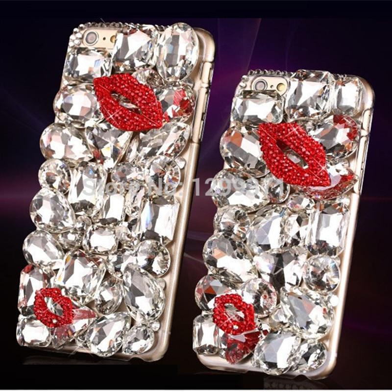 Bling Diamond Red Lip Kiss Pouzdro Pouzdro pro Iphone XS Max XR X 8 7 6 6S Plus 5 5S Samsung Galaxy Note 9 8 5 4 3 S9 / 8/7/6 Edge Plus