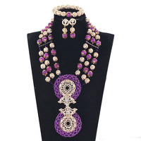 Chunky Bib Necklace Set Purple Bead African Wedding Jewelry Sets Dubai Gold Traditional Nigerian Wedding Beads