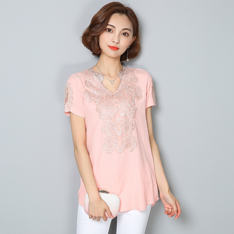 Chemise Femme 2018 Korean Woman Clothes Summer Style Blouse V-Neck Lace Cotton Blouse Women Top Sexy Shirts Plus Size 4XL Blusas