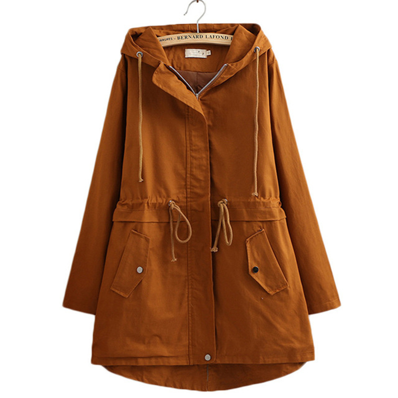 Womens Windbreakers Hooded Coat Spring Autumn 2019 New High Quality Outerwear Loose Plus size Long   Trench   Coat Women Tops 4XL
